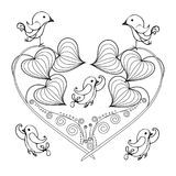 Stylized floral monochrome heart, birds, sketch, design element stock vector illustration for print. For tattoo, for coloring page stock illustration