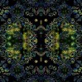 Stylized floral pattern symmetrical on black background Stock Photography