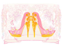Stylized floral shoes. Royalty Free Stock Image