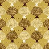 Stylized Flower Basket Seamless Vector Pattern. Scandi Folk Daisies Flowering Tree. Hand Drawn Boho Style Illustration for Trendy Textiles Prints, Decor royalty free illustration