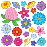 Stylized flower heads theme set 2 Royalty Free Stock Image