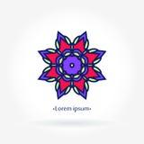 Stylized flower logo for flower shop. Mandala. Petals. Big bright bud. Boutique. Stock Photography