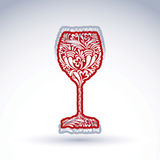 Stylized flower-patterned goblet  on white backdrop, alc Royalty Free Stock Photos