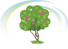 Stylized flowering tree with butterflies Royalty Free Stock Photography