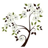 Stylized Flowering Tree. Tree with decorative white flowers in an illustrative style on isolated background vector illustration