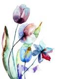 Stylized flowers. Stylized blue flowers, watercolor illustration Stock Image
