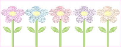 Stylized flowers five different colors Royalty Free Stock Photo