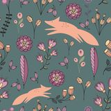 Stylized flowers and foxes on a green background. Seamless pattern Royalty Free Stock Photography