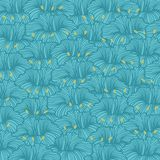 Stylized flowers with graceful lines. Graceful stylized flowers on a blue background. Vector seamless pattern Royalty Free Stock Image