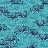 Stylized flowers with graceful lines. Graceful stylized flowers on a blue background. Vector seamless pattern Royalty Free Stock Photos