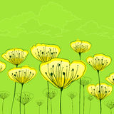 Stylized flowers on green Stock Photography
