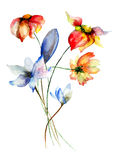 Stylized flowers illustration Stock Image