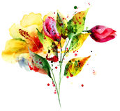 Stylized flowers illustration Royalty Free Stock Images