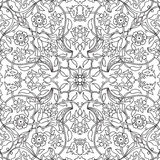Stylized flowers oriental doodle wallpaper seamless abstract bac Stock Photos