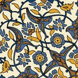Stylized flowers oriental wallpaper retro seamless abstract back Stock Photo