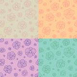 Stylized flowers patterns Stock Photo