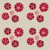 Stylized Flowers and Polygonal Peaked Stars Pattern. Dark red stylized flowers and polygonal peaked stars pattern on a grey-beige background Stock Photo
