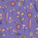 Stylized flowers on a purple background. Stylized flowers on purple background. Seamless pattern Royalty Free Stock Photos