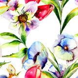 Stylized flowers watercolor illustration Royalty Free Stock Images