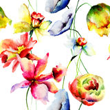 Stylized flowers watercolor illustration Royalty Free Stock Image