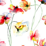 Stylized flowers watercolor illustration Royalty Free Stock Photos