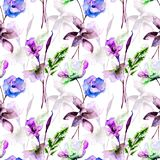 Stylized flowers watercolor illustration. Seamless pattern, Stylized flowers watercolor illustration Royalty Free Stock Photo