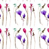 Stylized flowers watercolor illustration. Seamless pattern Stock Image