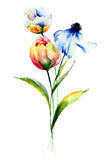Stylized flowers watercolor illustration Stock Photos