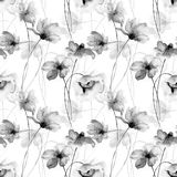 Stylized flowers watercolor illustration. Seamless pattern Royalty Free Stock Images