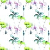 Stylized flowers watercolor illustration. Seamless pattern Royalty Free Stock Image