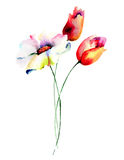 Stylized flowers watercolor illustration Royalty Free Stock Photography