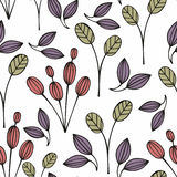 Stylized flowers on a white background. Seamless pattern Stock Photos