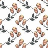 Stylized flowers on a white background. Seamless pattern Stock Images