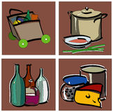 Stylized food icons. Illustration of artistic food icons Royalty Free Stock Photography