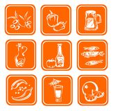 Stylized food symbols. Nine ornate food symbols on an orange background Stock Photo