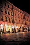 Stylized foto av stadens gammala gata Arkivbild