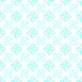 Stylized Four-Petal Flower Background. Grid pattern of light blue stylized four-petal flowers on white background. Seamless repeat Stock Images