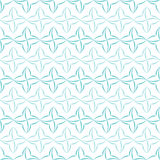 Stylized Four-Petal Flower Background. Pattern of light blue stylized four-petal flowers set in horizontal stripes on white background. Seamless repeat Stock Photos