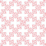 Stylized Four-Petal Flower Background. Trellis pattern of pink stylized four-petal flowers on white background. Seamless repeat Stock Image