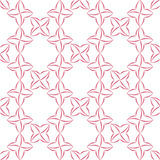 Stylized Four-Petal Flower Background. Trellis pattern of pink stylized four-petal flowers on white background. Seamless repeat Royalty Free Stock Photography