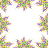 Stylized frame floral seamless pattern - bouquet for invitation Stock Photo