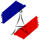 Stylized French Flag and Eiffel Tower Stock Photo