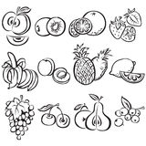 Stylized fruit  set on a white background Stock Photography