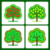 Stylized fruit trees. With fruits - apples and pears Royalty Free Stock Photo