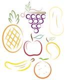 Stylized fruits Royalty Free Stock Photo