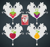 Stylized fruits and berries, stickers for you jam Royalty Free Stock Photos