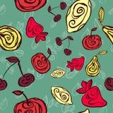Stylized fruits on green background. Seamless pattern by stylized bright fruits on green background Stock Illustration