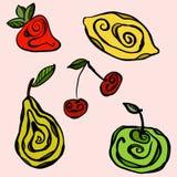 Stylized fruits on monochromatic background Stock Images