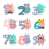 Stylized Funky Animals Standing Next To Digits Sticker Set. Funky Animals Standing Next To Digits Sticker Set. Stylized Colorful Flat Vector Illustrations For Royalty Free Stock Photography