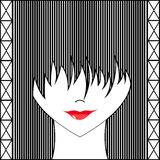 Stylized girl with face covered long bangs. Noface woman royalty free stock photo
